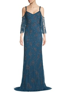 Theia Cold Shoulder Flounce Floor-Length Gown