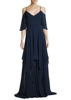 Theia Cold-Shoulder Silk Georgette Gown