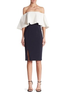 Theia Colorblock Off-The-Shoulder Dress