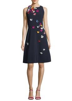 Theia Cutaway Sleeveless 3D Floral Dress