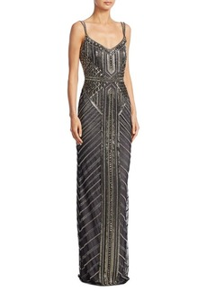Theia Deco Beaded Gown