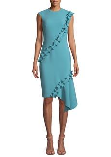 Theia Double-Asymmetric Ruffle Crepe Sleeveless Cocktail Dress