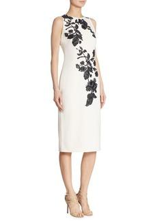 Theia Embellished Floral Sheath Dress