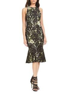 Theia Floral-Applique Sleeveless Dress