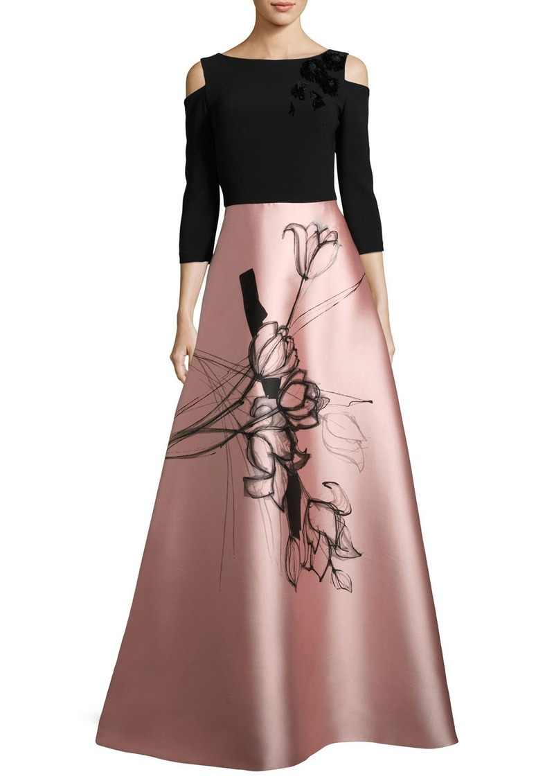 Theia Theia Floral Cold-Shoulder Crepe & Taffeta Evening Gown | Dresses