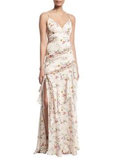 Theia Floral-Print Ruffle Slip Dress