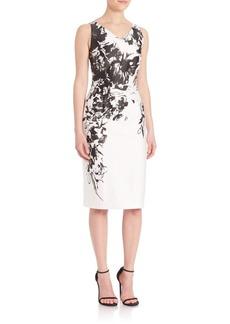 Theia Floral-Print V-Neck Sheath Dress