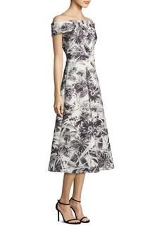 Theia Floral Printed Tea Dress