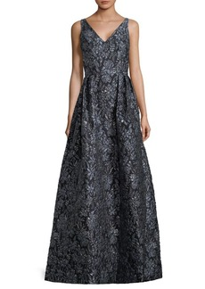 Theia Floral Sleeveless Ball Gown