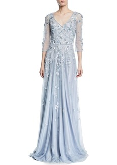 Theia Floral Tulle Appliqué V-Neck Gown