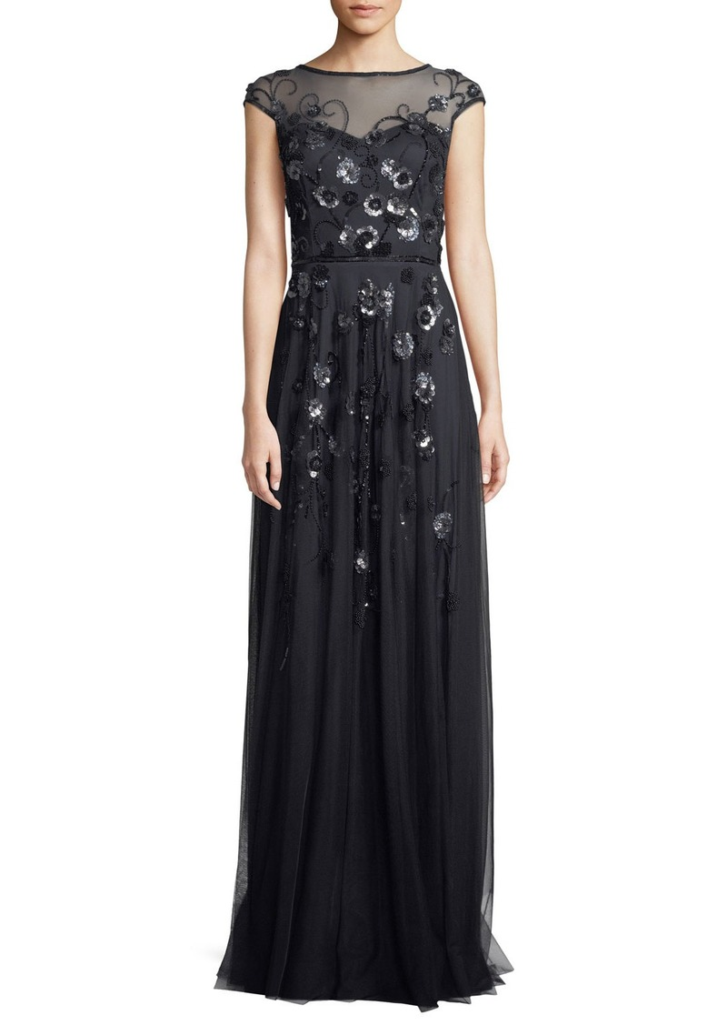 Theia Floral Vine Beaded Tulle Cap-Sleeve Gown