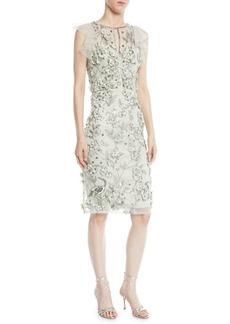 Theia Flutter-Sleeve 3D Floral Dress