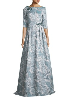 Theia Half-Sleeve Floral Embellished A-Line Gown