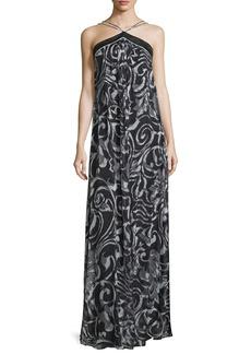 Theia Halter-Neck Scroll-Print Column Gown