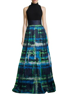 Theia Halter T-Back Jersey Bodice Plaid Skirt Gown