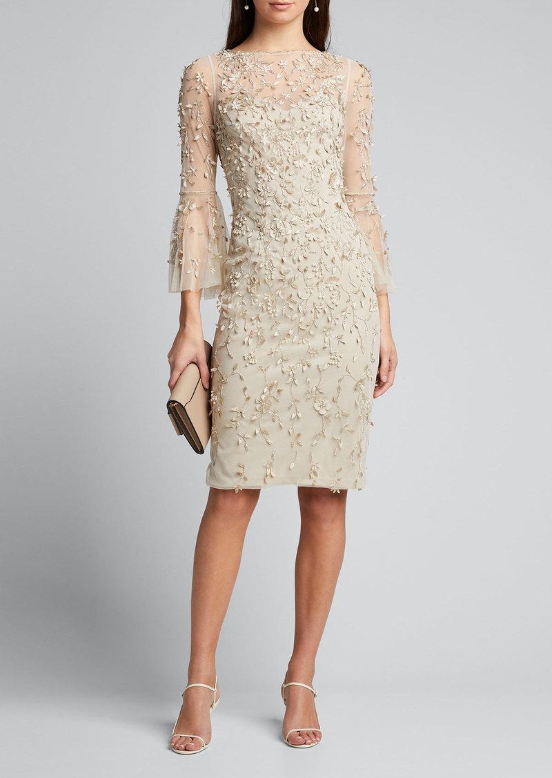 Theia Hand-Beaded & Petal Applique 3/4 Bell-Sleeve Dress