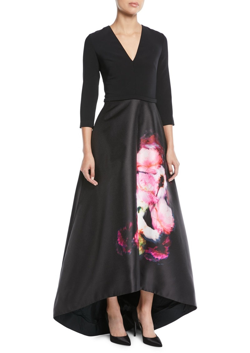 Theia High Low Ball Gown W Flower Skirt Dresses