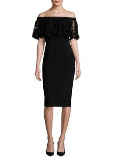 Theia Lace Popover Sheath Dress