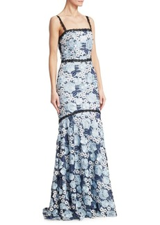 Theia Lace Tank Flare Gown