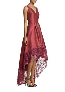 Theia Lace Trim Hi-Lo Gown