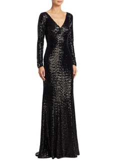 Theia Long-Sleeve Beaded Gown