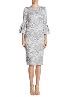 Theia Metallic Jacquard Bell Sleeve Dress