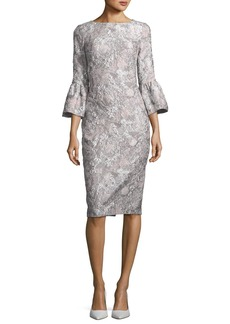 Theia Metallic Stretch Bell-Sleeve Jacquard Cocktail Dress