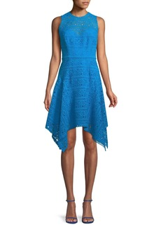 Theia Novelty Guipure Lace Handkerchief-Hem Dress