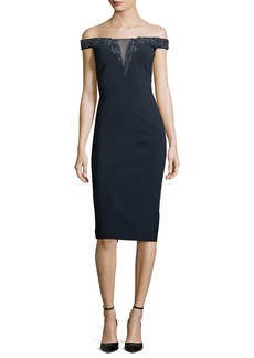 Theia Off-the-Shoulder Beaded Illusion Cocktail Dress