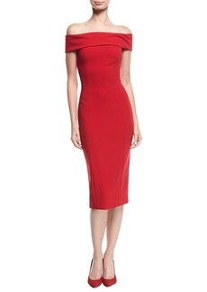 Theia Off-the-Shoulder Cap-Sleeve Cocktail Sheath Dress