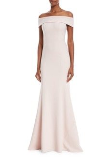 Theia Off-the-Shoulder Crepe Trumpet Gown