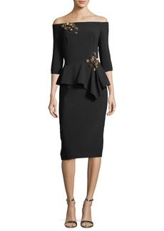 Theia Off-the-Shoulder Embellished Peplum Cocktail Dress