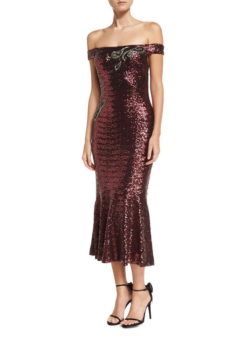 Theia Off-the-Shoulder Fitted Sequin Cocktail Dress | Dresses