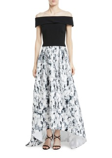 Theia Off-the-Shoulder High-Low Gown