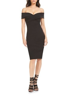 Theia Off-The-Shoulder Sheath Dress