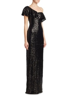 Theia One-Shoulder Ruffled Gown