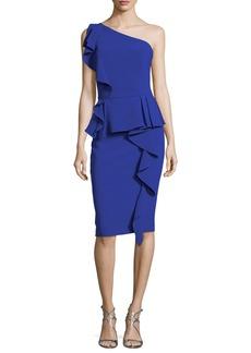 Theia One-Shoulder Ruffled Peplum Cocktail Dress