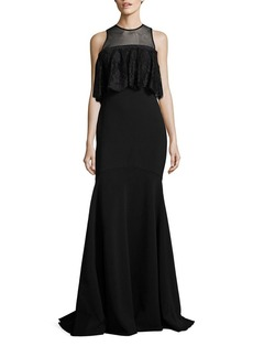 Theia Ruffled Lace Trumpet Gown