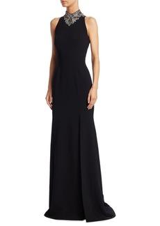Theia Sleeveless Beaded Gown