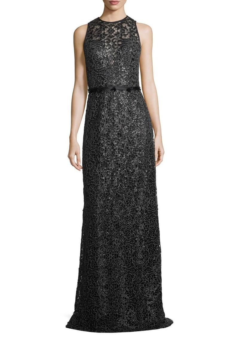 Theia Sleeveless Jewel-Neck Lace Evening Gown | Dresses