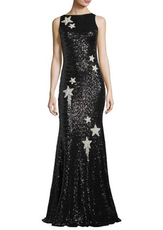 Theia Sleeveless Star-Embellished Sequin Evening Gown