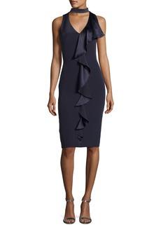 Theia Sleeveless Stretch Silk Ruffle-Trim Cocktail Dress