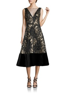 Theia Sleeveless V-Neck Dress