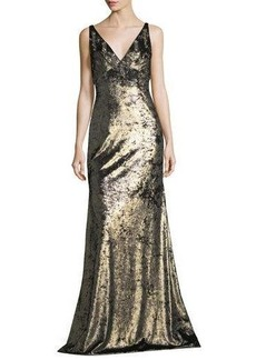 Theia Sleeveless Wide V-Neck Metallic Evening Gown w/ Embellishments