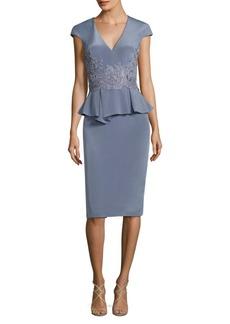 Theia Stretch-Silk Peplum Sheath Dress