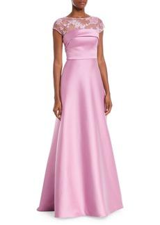 Theia Super Stretch Threadwork Ball Gown