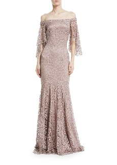 Theia Swarovski Crystal Lace Flutter-Sleeve Gown