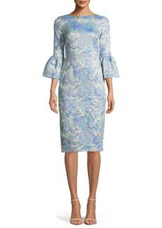 Theia Tissue Cloqué Bell-Sleeve Dress