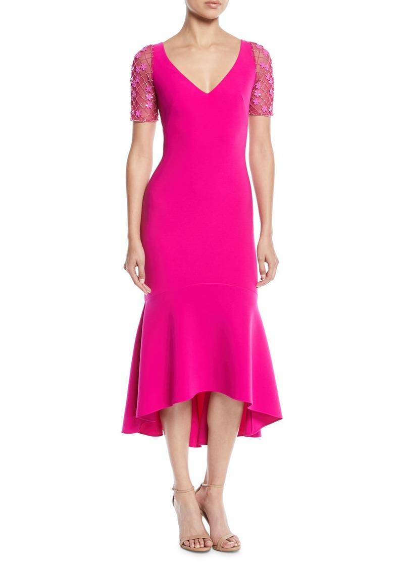 Theia V-Neck Illusion-Sleeve Dress w/ Flounce Hem