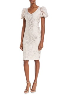 Theia V-Neck Puff-Sleeve Tissue-Weight Cocktail Dress